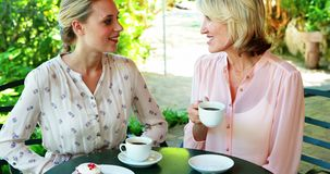 Female friends having coffee together 4k. Female friends having coffee together in restaurant 4k stock video footage