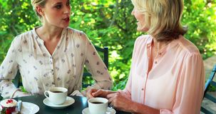 Female friends having coffee together 4k. Female friends having coffee together in restaurant 4k stock video