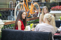 Female Friends Having Lunch Together At The Mall Royalty Free Stock Image