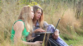 Female friends with laptop outdoor. Two female friends sitting on the grass and talking online using laptop stock video footage