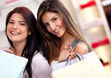 Female friends shopping Stock Photography