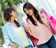 Female friends shopping Stock Photo