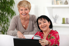 Female friends shopping online. Stock Photography