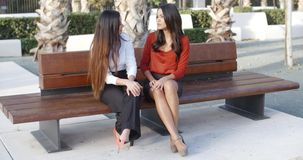 Female friends sitting chatting in an urban square. Two stylish female friends sitting on a wooden bench chatting and laughing together in an urban square stock video