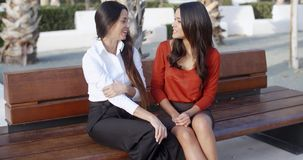Female friends sitting chatting in an urban square. Two stylish female friends sitting on a wooden bench chatting and laughing together in an urban square stock video footage