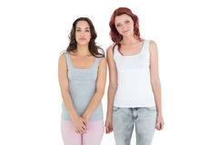 Female friends standing over white background Stock Images
