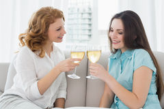 Female friends toasting wine glasses at home Stock Photography