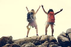 Female Friends traveling Together in excitement royalty free stock image
