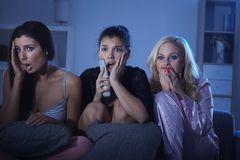 Girls watching horror Royalty Free Stock Photography