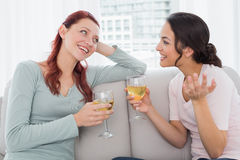 Female friends with wine glasses chatting at home Stock Images