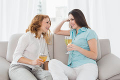 Female friends with wine glasses at home Royalty Free Stock Photos