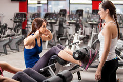 Female friends working out together Royalty Free Stock Photo