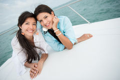 Female friends on a yacht Royalty Free Stock Image