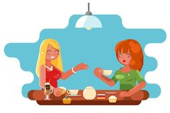 Female friendship cafe meeting cute characters talking conversation flat design vector illustration royalty free illustration