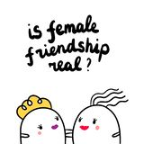 Is female friendship real hand drawn illustration with two girls marshmallows royalty free illustration