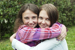 Female friendship 3. Two beautiful college students friends together. Female friendship. High school girls Royalty Free Stock Images