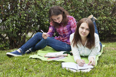 Female friendship 4. Two girls teenagers doing homework in the Park on the grass. Female friendship Royalty Free Stock Photography