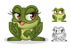 Female Frog Cartoon Character Mascot Design royalty free stock image
