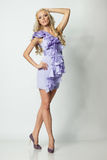 Female in full length in purple dress Royalty Free Stock Image