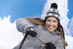 female fun having smiling winter young Стоковые Фото