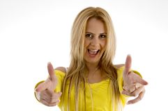 Female in funky hand gesture Royalty Free Stock Photo