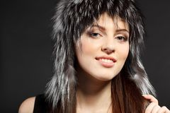 Female in fur hat Stock Photo