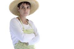 Female gardener, arms crossed Stock Images