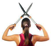 Female gardener cutting with gardening scissors Royalty Free Stock Image