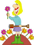 Female gardener with flowers Stock Photo