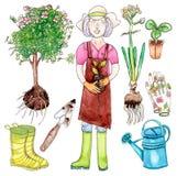Female gardener with garden set. Female gardener and garden set - watercolor illustration on white background Stock Image