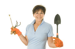 Female gardener gardening tools Royalty Free Stock Photography