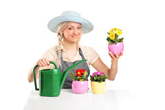 Female gardener posing with flower pots Royalty Free Stock Image