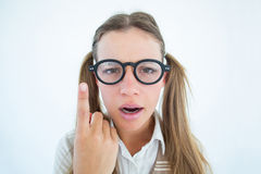 Female geeky hipster looking confused Stock Photo