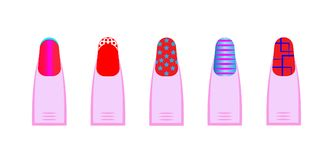 Female gel manicure, Vector set of different nails shape, manicure style. Beauty spa salon illustration with colorful fingernails. For women and girls Royalty Free Stock Images