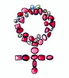 Female gender sign of colorful jewels. Royalty Free Stock Images