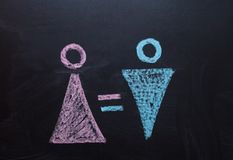 The female gender symbol is equal to the male concept of gender equality. Drawing with chalk on the chalk Board. The female gender symbol is equal to the male stock photo