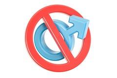 Female gender symbol with forbidden, prohibition sign. 3D render Stock Photo