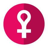 Female gender symbol icon shadow Royalty Free Stock Photography