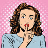 Female gesture of silence. Pop art retro style. Keep quiet. Please be quiet. Sign gesture Royalty Free Stock Photography