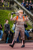 Female Ghostbusters cosplay. Scarborough, UK - April 08, 2017: Female cosplayer dressed as `Jillian Holtzmann` from the 2016 version of `Ghostbusters` at Sci-Fi stock photography