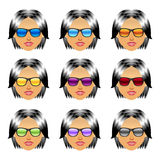 Female girl head with sunglasses Stock Photos