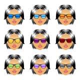 Female girl head with sunglasses Stock Photos