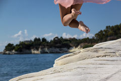 Female girl jumping Royalty Free Stock Photos