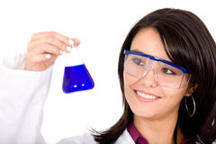 Female girl in a laboratory Royalty Free Stock Image