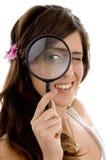 female glass looking magnifying Στοκ εικόνες με δικαίωμα ελεύθερης χρήσης