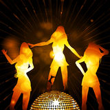 Female glowing silhouettes and disco ball Royalty Free Stock Photos