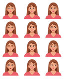 Female Go-to Faces Set. Female avatar expressions set with isolated woman images of sorrow anger happiness satisfaction surprise joy amazement vector Stock Photography