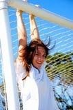 Female goalkeeper stock image