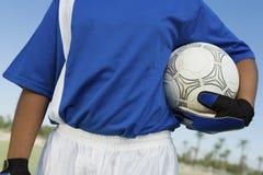 Female Goalkeeper Holding Soccer Ball Stock Photo