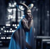 Female with goat body-art Stock Photo